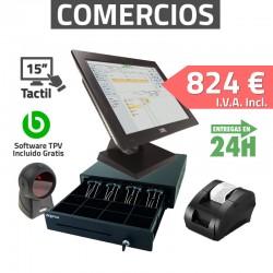 """TPV Tactil 15"""" PT-15IIN264 Tiendas y Comercios - 58mm - Lector de mano"""