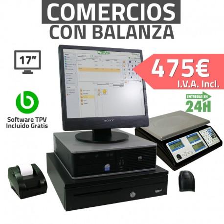 """TPV 17"""" con balanza Tienda y Supermercados - 58mm - Lector de mano"""