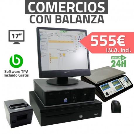 """TPV 17"""" Con Balanza Tiendas y Comercios - 80mm - Lector de mano - 2GB - 80GB HDD"""