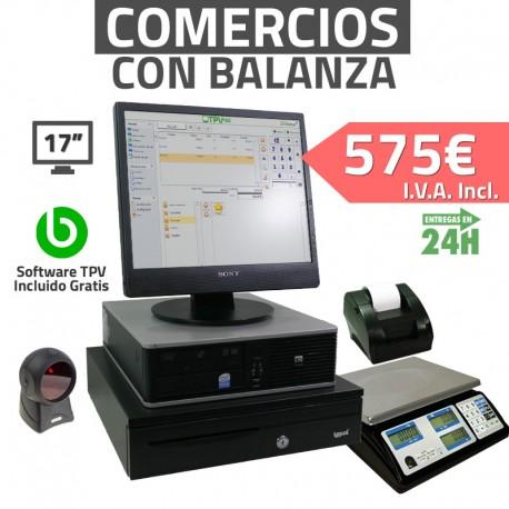 """TPV 17"""" con balanza 2GB Tienda y Supermercados - 58mm - Lector Omnidireccional"""