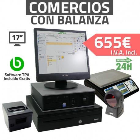 """TPV 17"""" con balanza 2GB Tienda y Supermercados - 80mm - Lector Omnidireccional"""