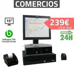 """TPV 15"""" 2GB Tienda y Supermercados - 58mm - Lector de mano"""