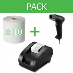 Pack Impresora Ticket 58mm + Lector Códigos de Barra USB + 10 unidades papel térmico 58mm