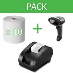 Pack Impresora Ticket 58mm + Lector Códigos de Barra Inalámbrico + 10 unidades de papel termico 58mm
