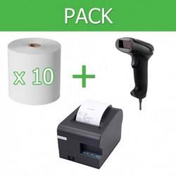 Pack Impresora Ticket 80mm + Lector Códigos de Barra USB + 10 unidades de papel térmico 80mm