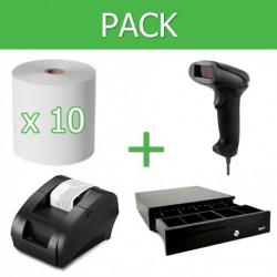 Pack Impresora Ticket 58mm + Lector Códigos de Barra USB + Cajon Portamonedas + 10 unidades Papel térmico 58mm
