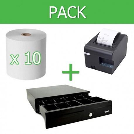 Pack Impresora Ticket 80mm + Cajon Portamonedas + 10 unidades papel térmico 80mm