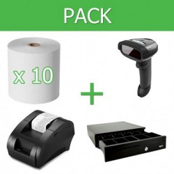Pack Impresora Ticket 58mm + Lector Códigos de Barra Inalámbrico + Cajon Portamonedas + 10 unidades papel térmico 58mm
