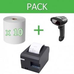 Pack Impresora Ticket 80mm + Lector Códigos de Barra Inalámbrico + 10 unidades de papel termico 80mm