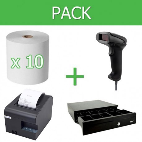 Pack Impresora Ticket 80mm + Lector Códigos de Barra USB + Cajon Portamonedas + 10 unidades papel térmico 80mm