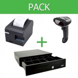 Pack Impresora Ticket 80mm + Lector Códigos de Barra Inalámbrico + Cajon Portamonedas