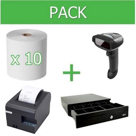 Pack Impresora Ticket 80mm + Lector Códigos de Barra Inalámbrico + Cajon Portamonedas + 10 unidades Papel Térmico 80mm