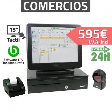 """TPV Táctil 15"""" Compacto- Tiendas y Supermercados - 58mm - Lector Omnidireccional"""