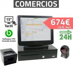 """TPV Táctil 15"""" Compacto- Tiendas y Supermercados - 80mm - Lector Omnidireccional"""