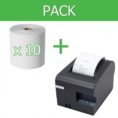 Pack Impresora Ticket 80mm + 10 unidades papel térmico 80mm