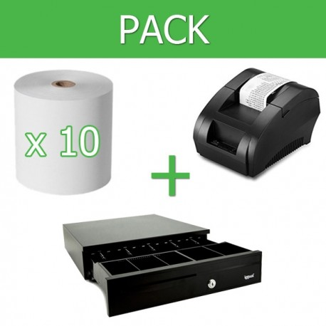 Pack Impresora Ticket 58mm + Cajon Portamonedas + 10 Unidades Papel Térmico 58mm