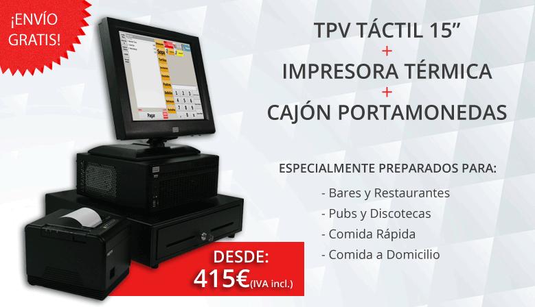 Equipos de tpv táctiles completos configurados y preparados para cada tipo de establecimiento.